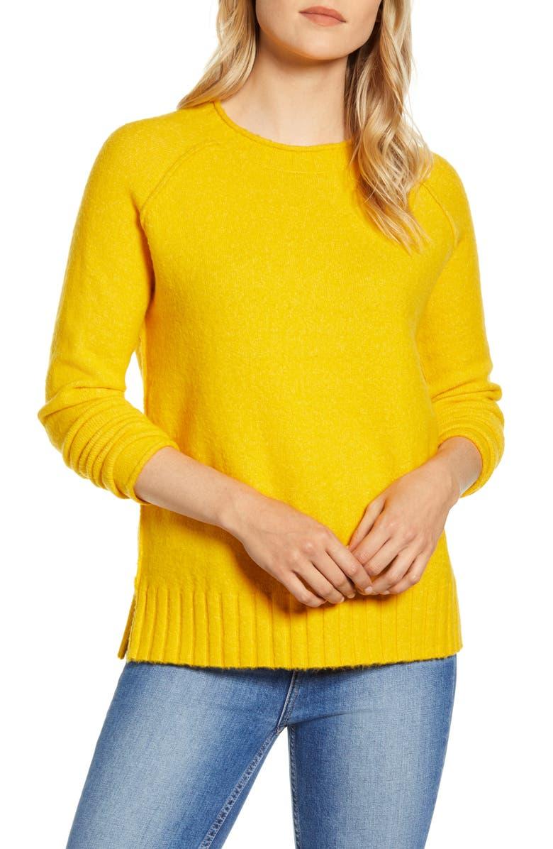 CASLON<SUP>®</SUP> Cozy Crewneck Sweater, Main, color, YELLOW ROD