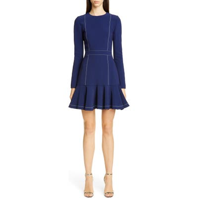 Carolina Herrera Contrast Stitch Long Sleeve Crepe Dress, Blue