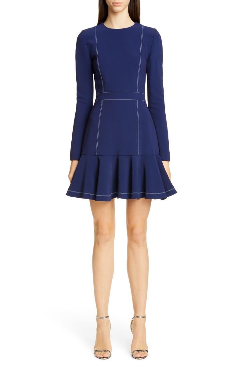 CAROLINA HERRERA Contrast Stitch Long Sleeve Crepe Dress, Main, color, SAPPHIRE