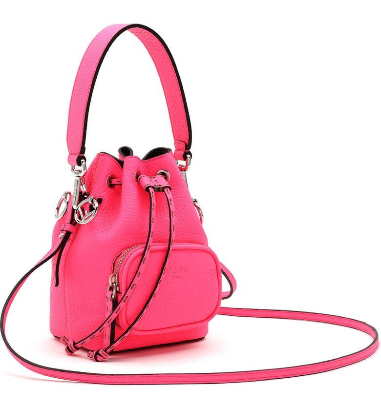 FENDI Mini Mon Tresor Leather Bucket Bag, Main, color, FLUORECENT PINK/ SILVER
