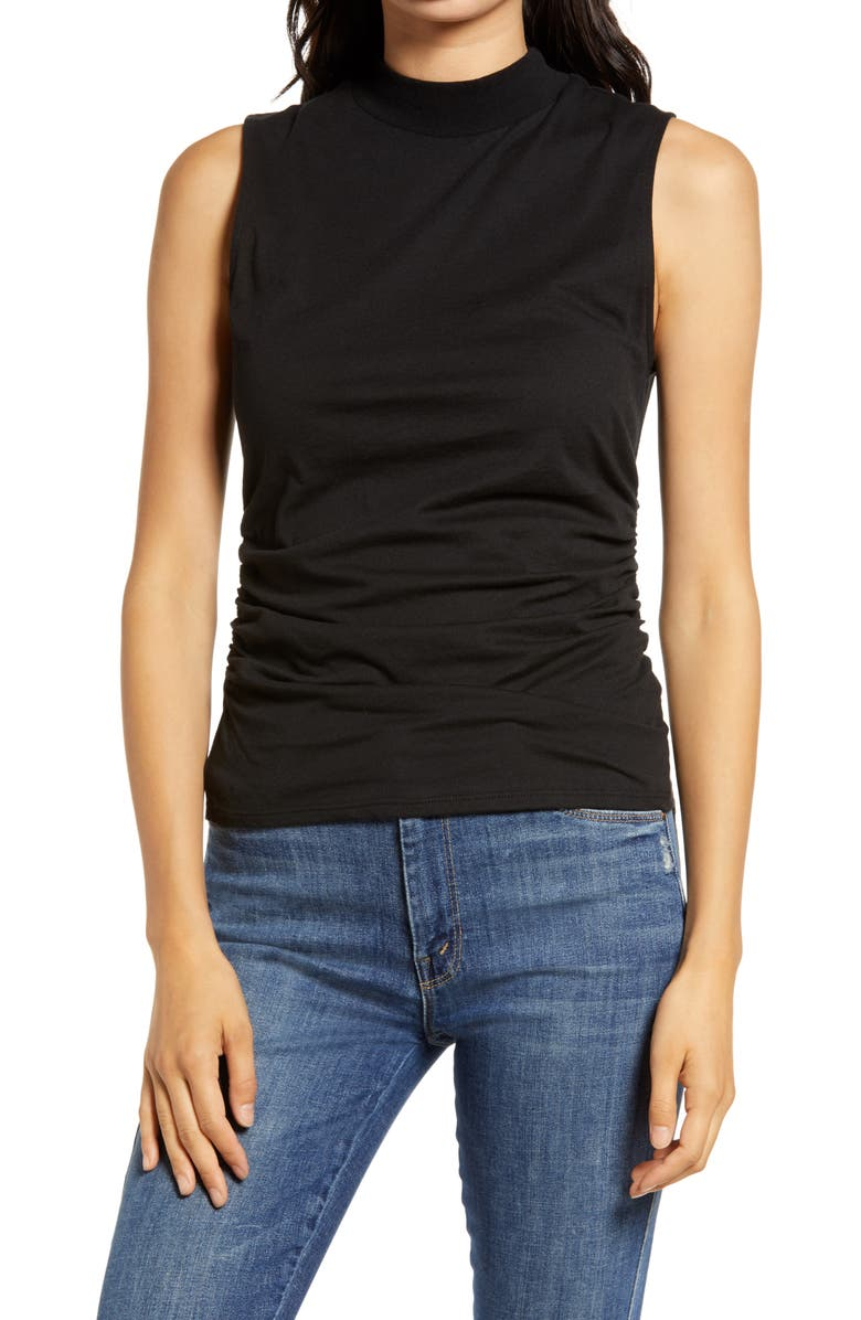 CHELSEA28 Ruched Mock Neck Tank, Main, color, BLACK