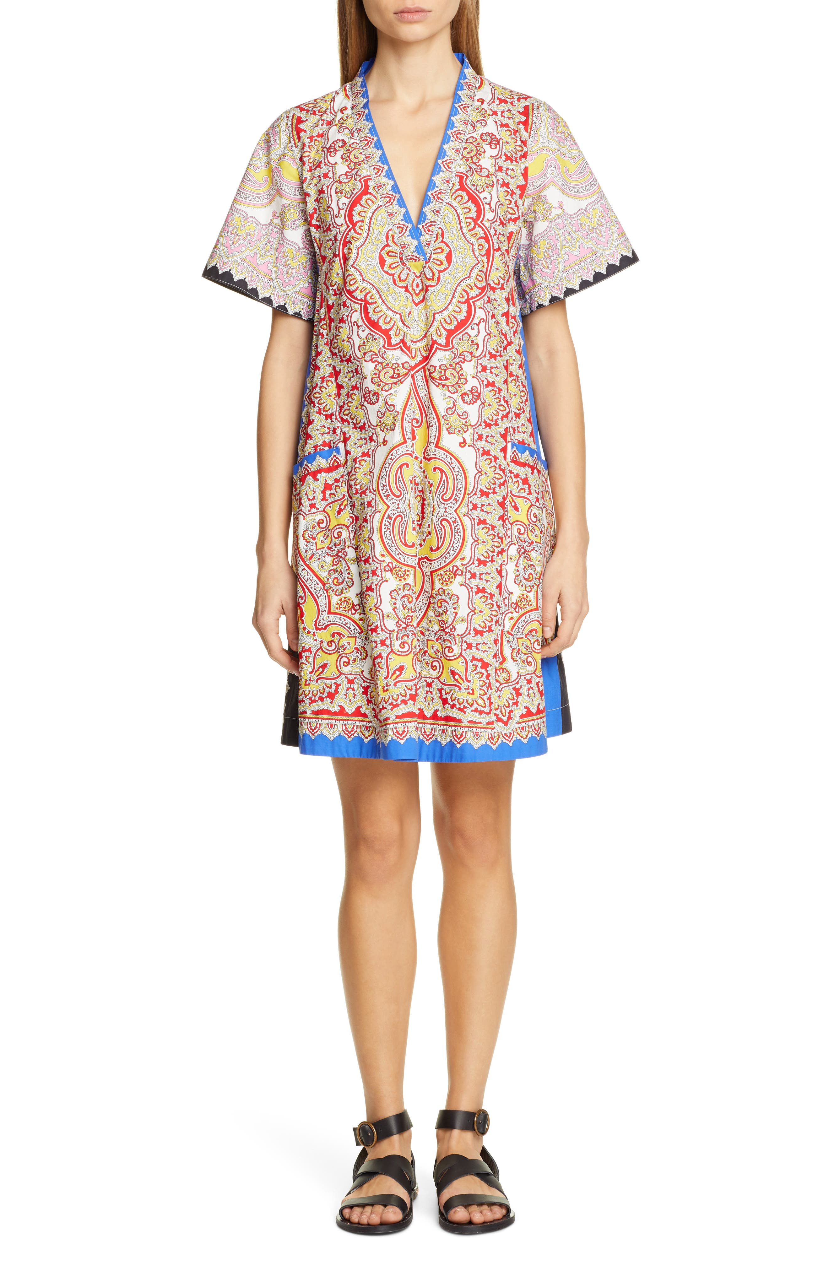 Etro Print Cotton Poplin Shift Dress, US / 40 IT - Ivory