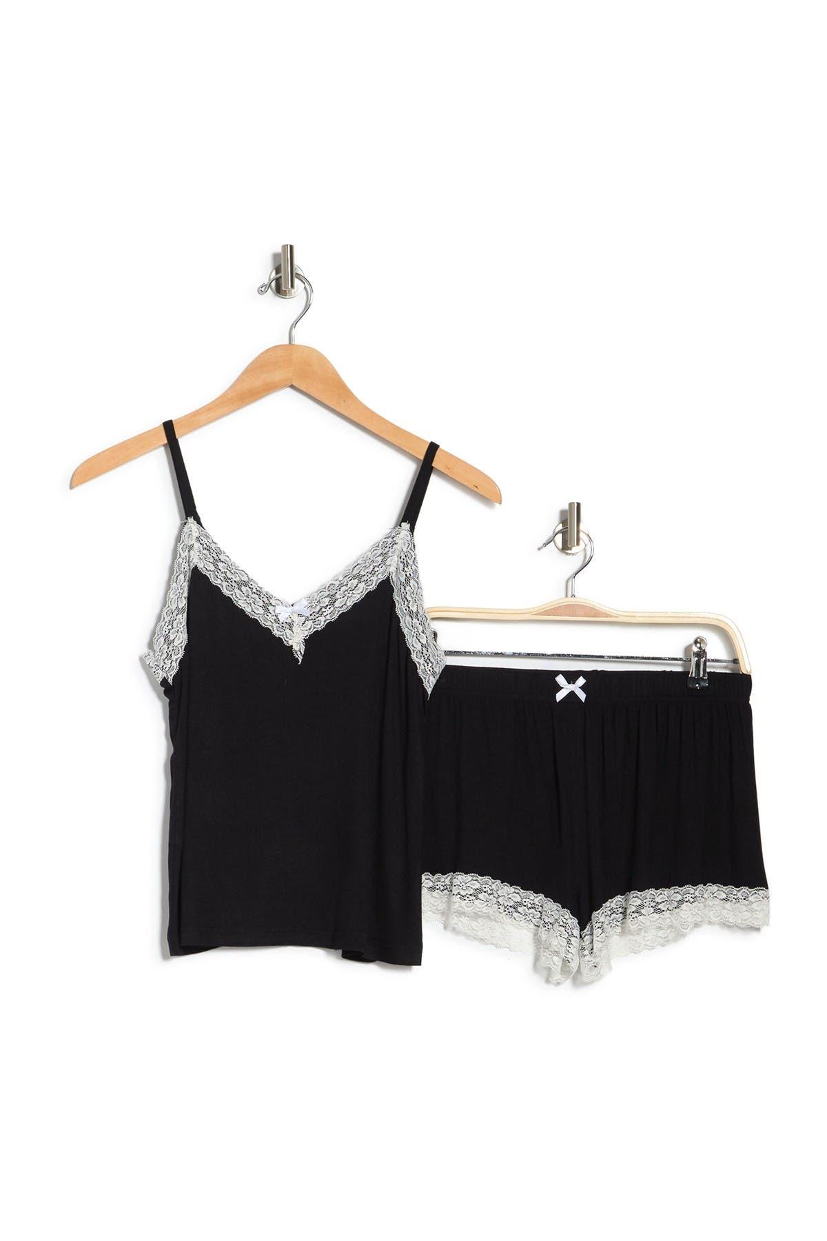 Image of Blis Lace Trim Tank & Shorts Pajama 2-Piece Set