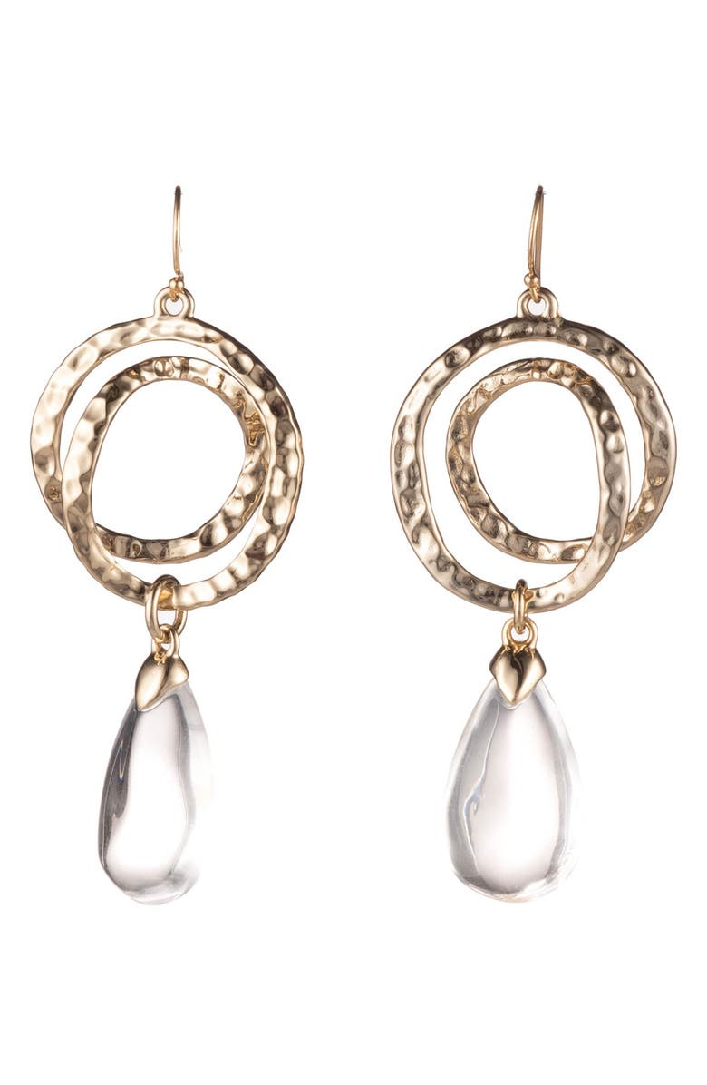 ALEXIS BITTAR Hammered Coil Lucite<sup>®</sup> Dewdrop Earrings, Main, color, CLEAR