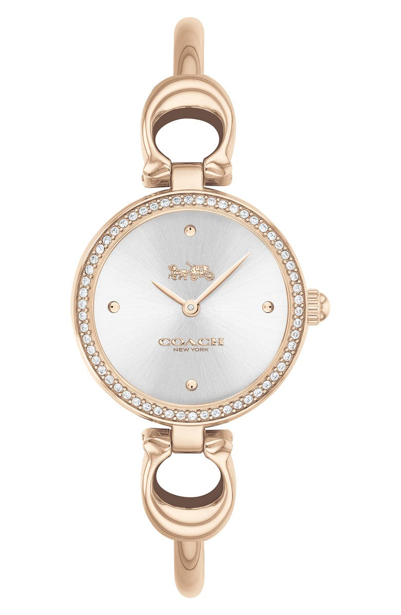 COACH Park Bangle Watch, 26mm, Main, color, CARNATION GOLD/SILVER WHT/SILV