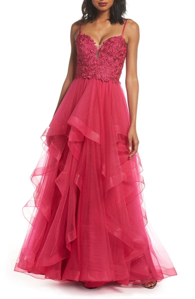 LA FEMME Lace & Tiered Tulle Ballgown, Main, color, HOT FUCHSIA