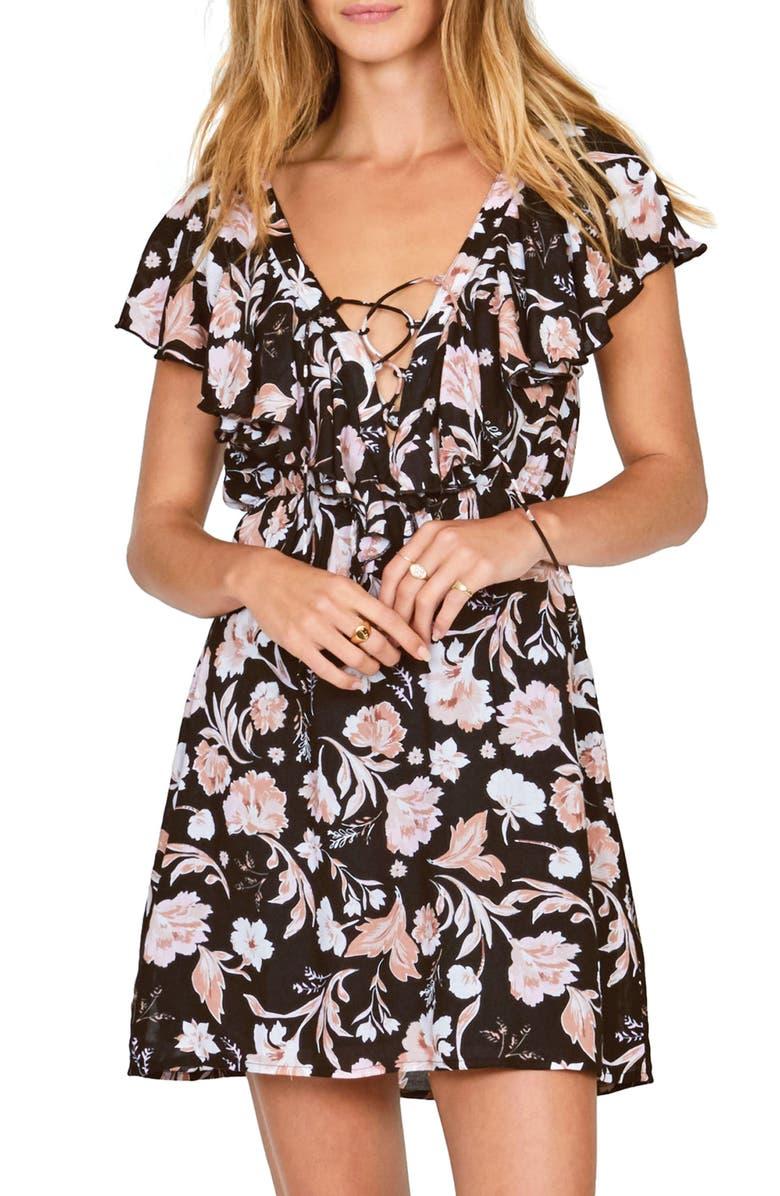 AMUSE SOCIETY Play Nice Lace-Up Dress, Main, color, 001