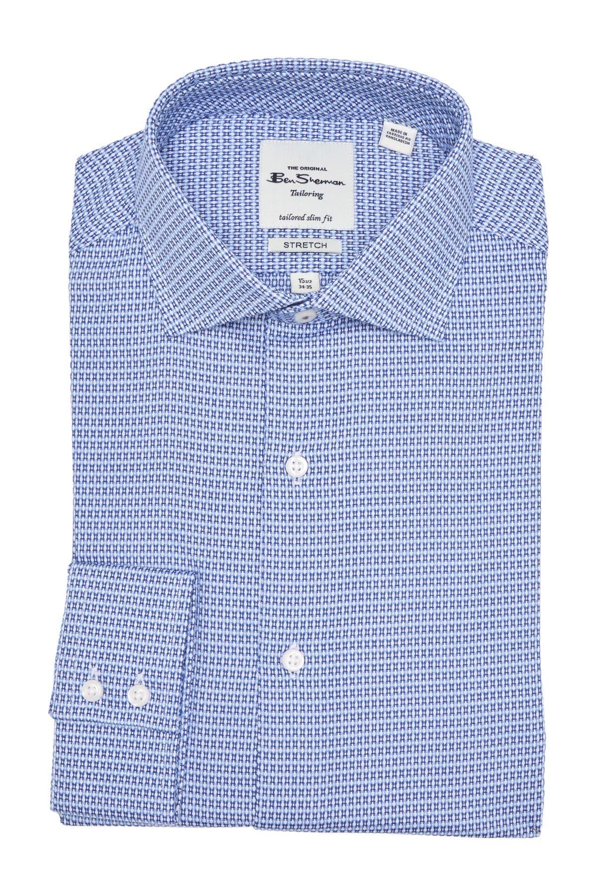 Image of Ben Sherman Blue & Royal Dobby Unsolid Slim Fit Dress Shirt
