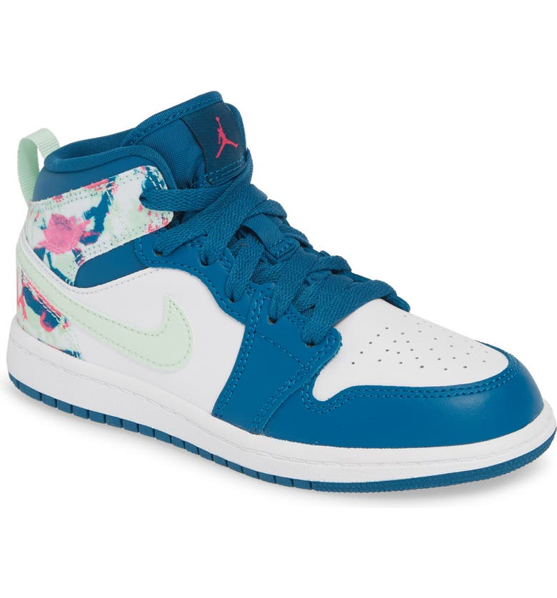 JORDAN Nike 'Jordan 1 Mid' Basketball Shoe, Main, color, GREEN ABYSS/ SPRUCE-WHITE