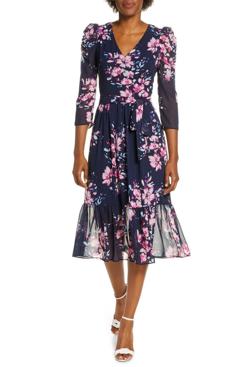 ELIZA J Floral Ruffle Hem Dress, Main, color, NAVY