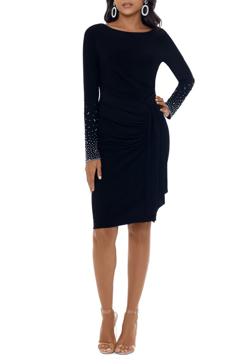 XSCAPE Ruched Long Sleeve Cocktail Dress, Main, color, 001