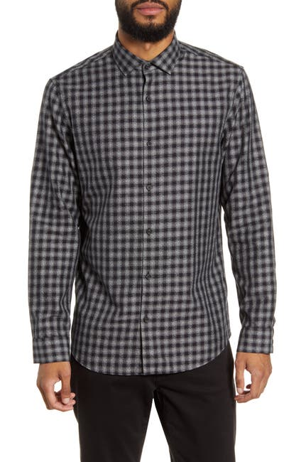 Image of CALIBRATE Trim Fit Check Flannel Button-Up Shirt
