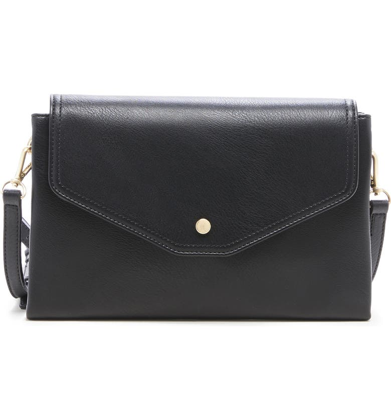 SOLE SOCIETY Convertible Faux Leather Clutch, Main, color, BLACK