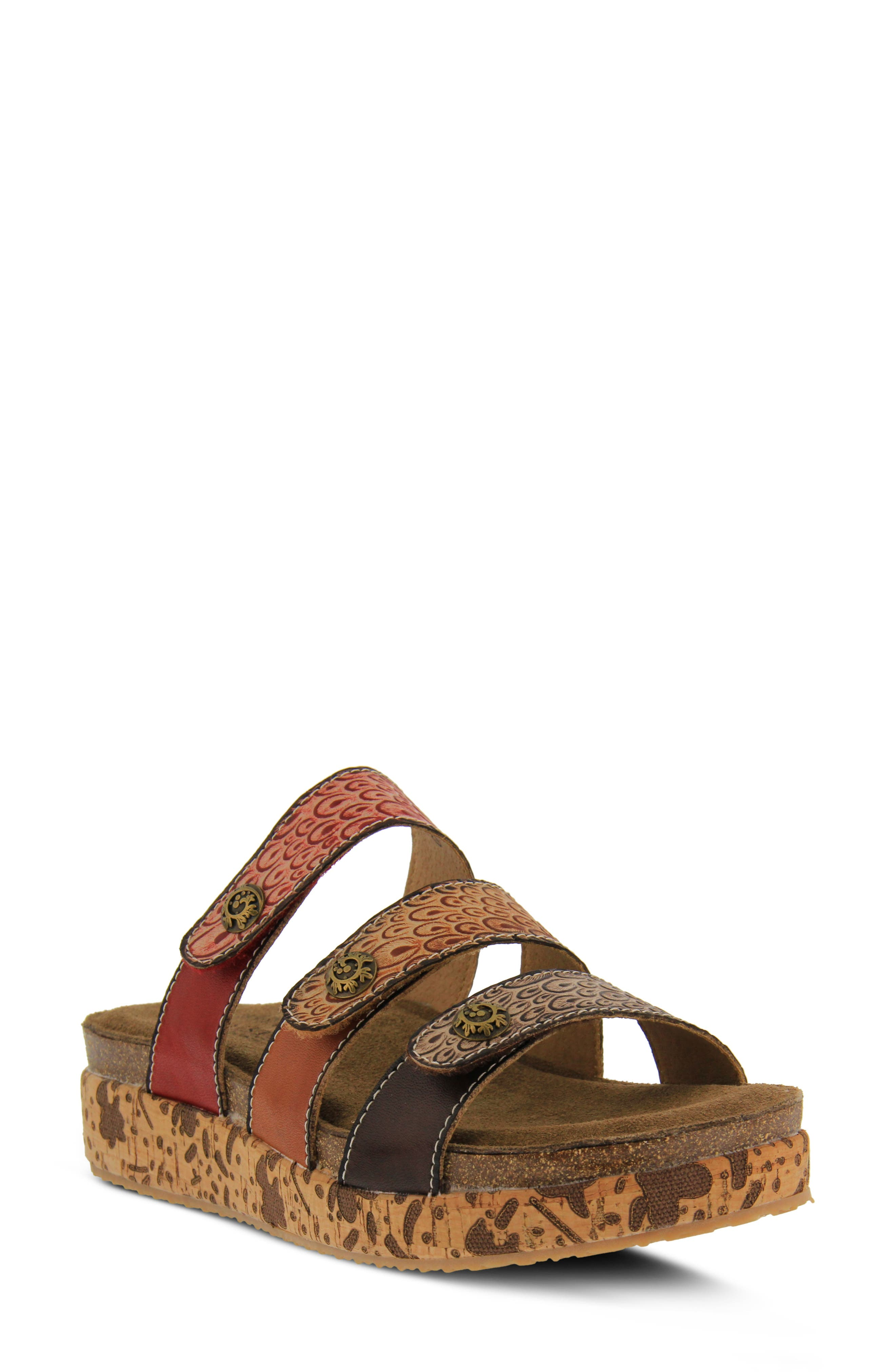 An effusive mix of colors and artisanal details, including an embossed cork-wrapped platform, turn this slide into a walking work of art. All three straps can be adjusted for a more secure fit. Style Name:L\\\'Artiste Keena Sandal (Women). Style Number: 5820869 1. Available in stores.
