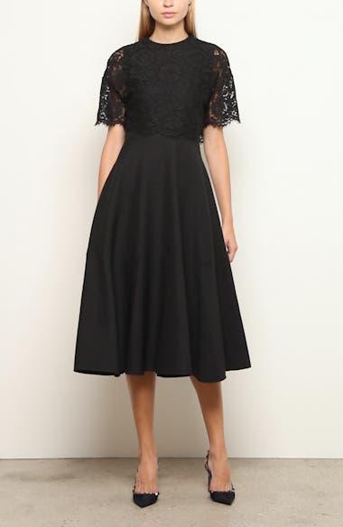 Lace Popover Crepe Couture Midi Dress, video thumbnail