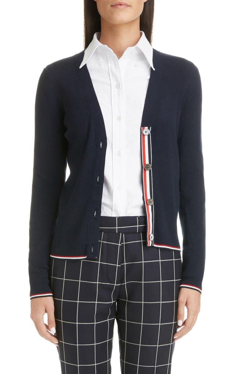 THOM BROWNE Rib Wool Blend Cardigan, Main, color, NAVY