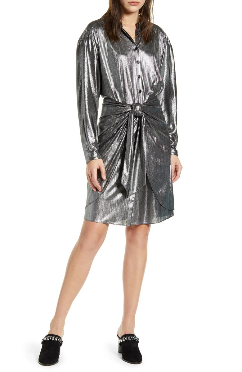 REBECCA MINKOFF Willow Metallic Long Sleeve Shirtdress, Main, color, 020