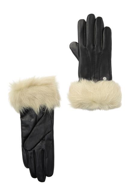 Image of UGG Genuine Shearling Trim Leather Gloves