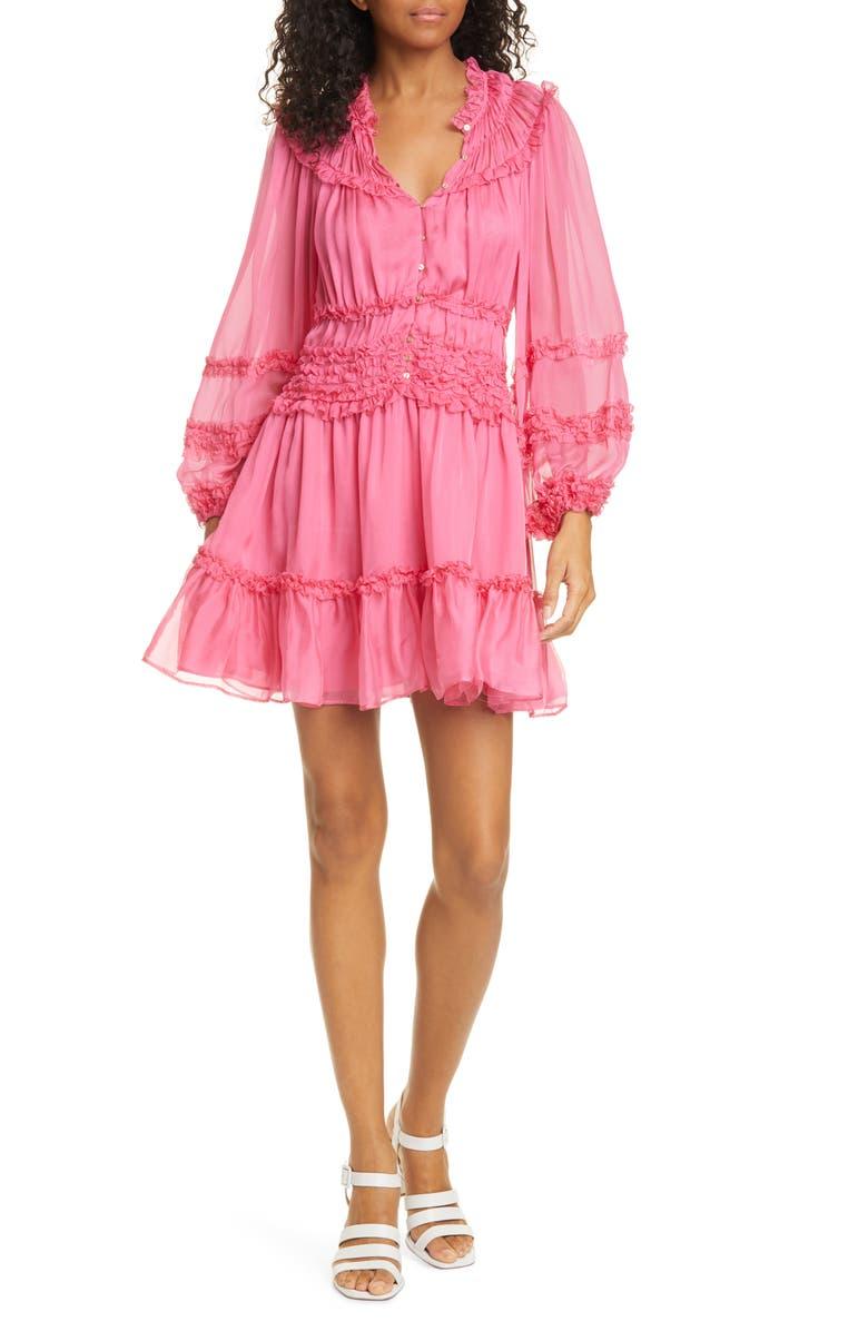 ULLA JOHNSON Abilene Ruffle Silk Dress, Main, color, 650