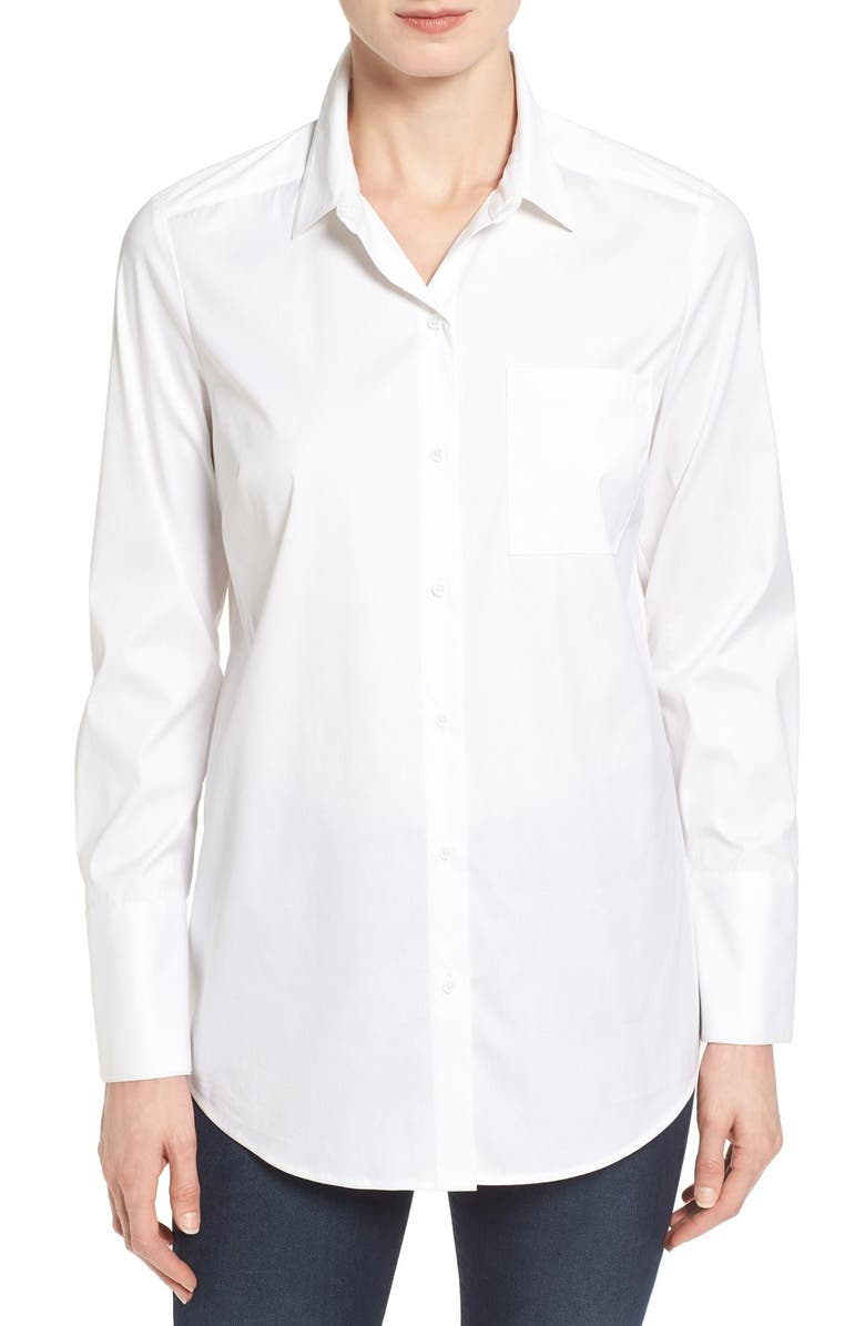 HALOGEN<SUP>®</SUP> Long Sleeve Stretch Poplin Shirt, Main, color, 100