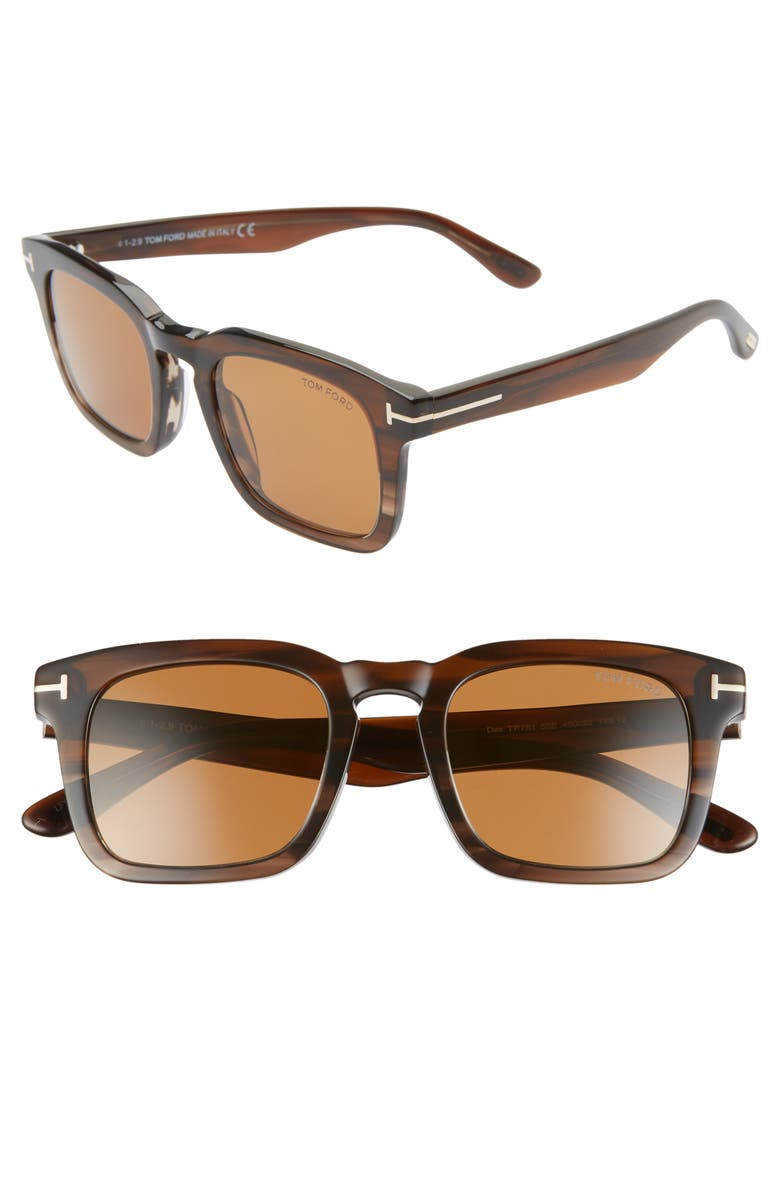 TOM FORD Dax 50mm Square Sunglasses, Main, color, COLORED HAVANA/ BROWN
