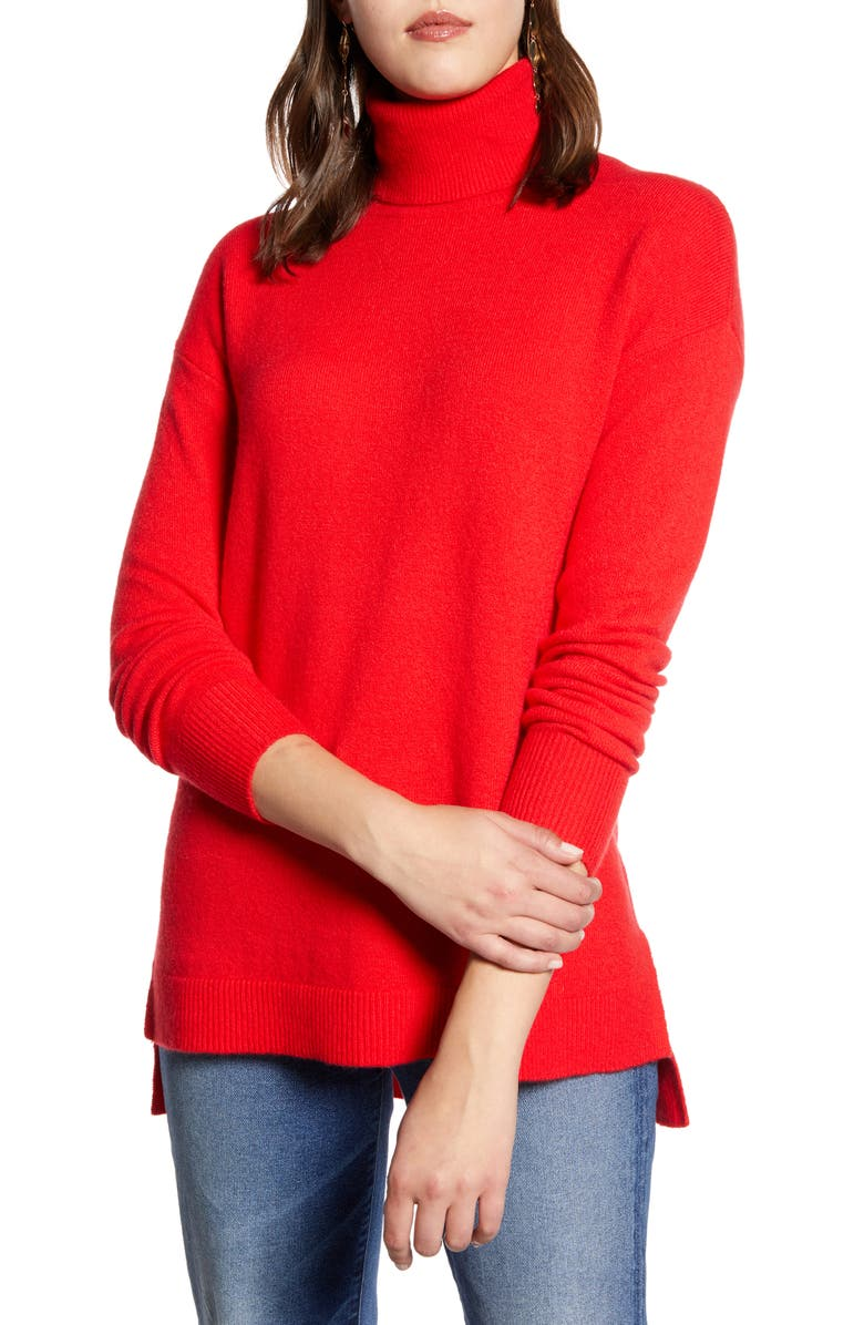 HALOGEN<SUP>®</SUP> Turtleneck Wool Blend Tunic Sweater, Main, color, RED CHINOISE