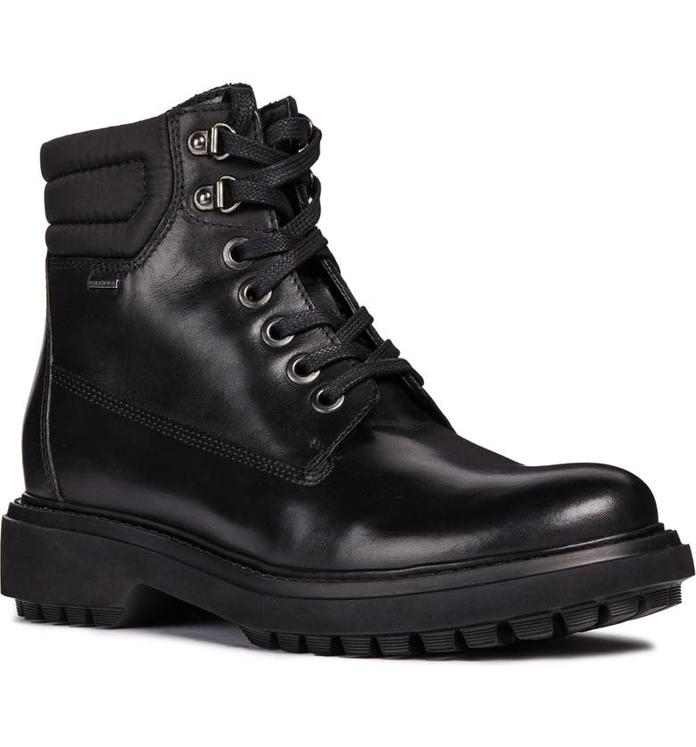 GEOX Asheely Amphibiox<sup>®</sup> Waterproof Bootie, Main, color, BLACK NAPPA LEATHER
