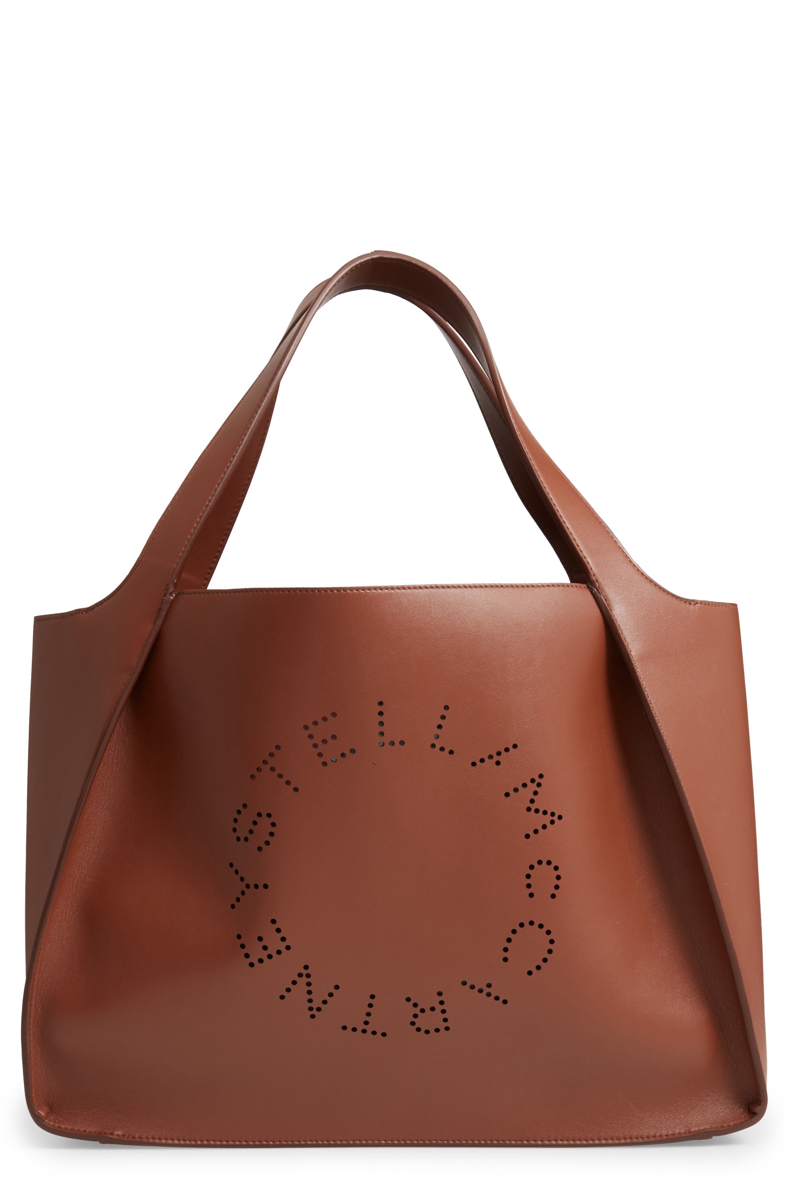 Stella Mccartney Medium Perforated Logo Faux Leather Tote - Brown