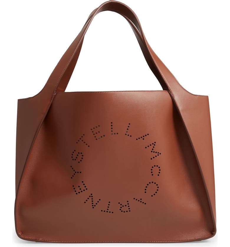 STELLA MCCARTNEY Medium Perforated Logo Faux Leather Tote, Main, color, CINNAMON