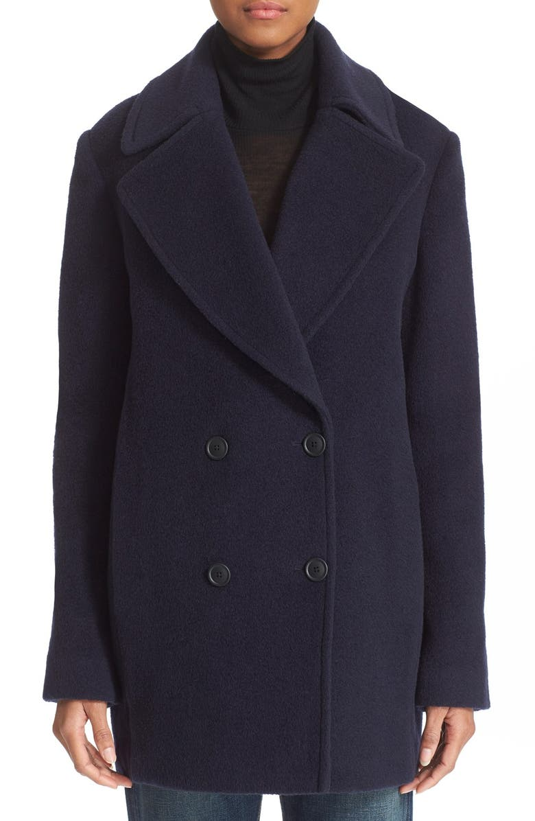 ALEXANDERWANG.T T by Alexander Wang Virgin Wool & Mohair Blend Peacoat, Main, color, 404