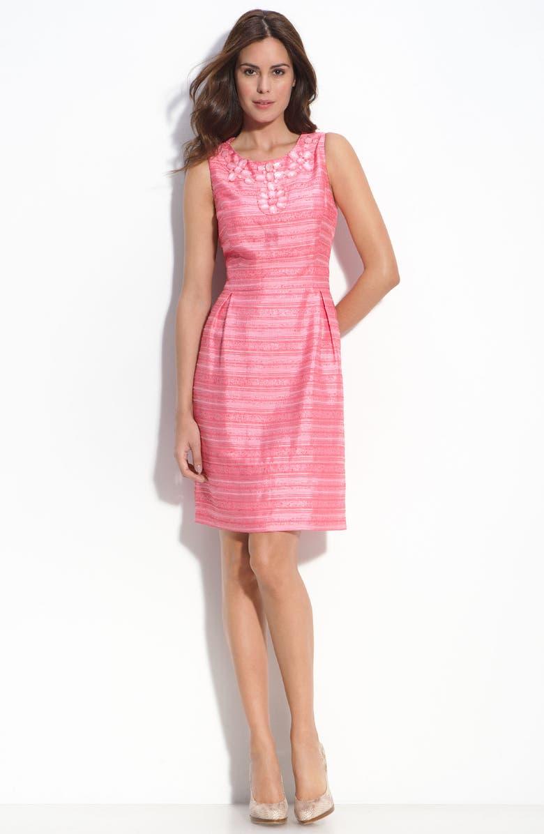 ELIZA J Embellished Linen Blend Dress, Main, color, 660