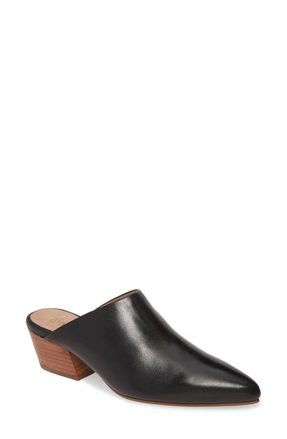 Seychelles Rendezvous Pointed Toe Mule In Black Leather