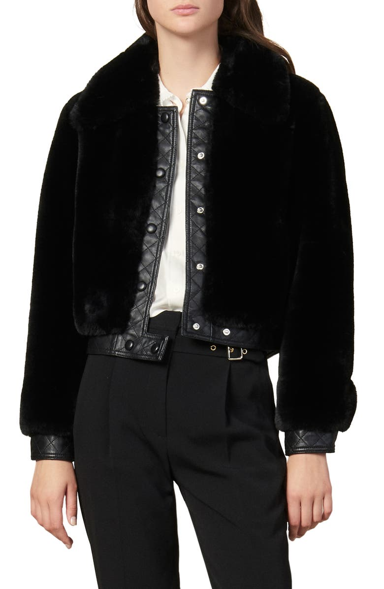 SANDRO Fauny Faux Fur Leather Detail Bomber Jacket, Main, color, BLACK