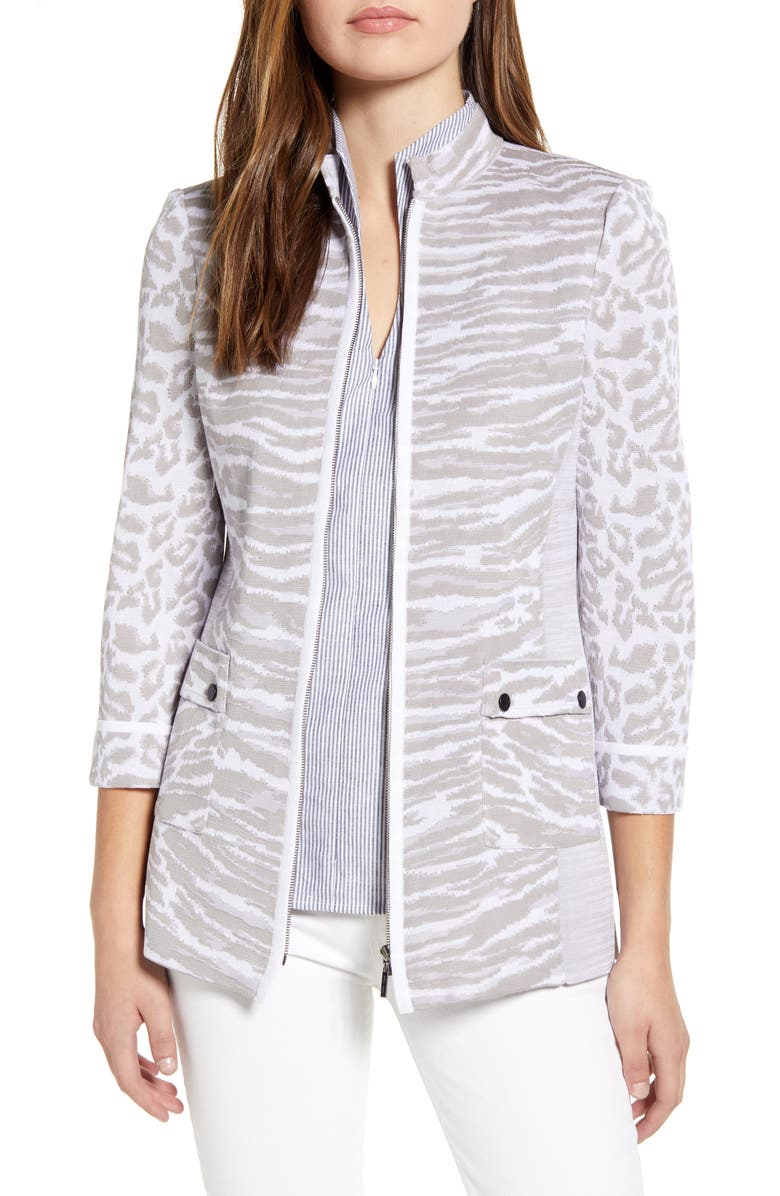 MING WANG Animal Mix Print Zip Front Sweater, Main, color, STERLING/ WHITE