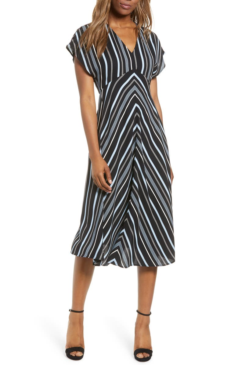 LEITH Dolman Sleeve Midi Dress, Main, color, BLACK MULTI PIN STRIPE