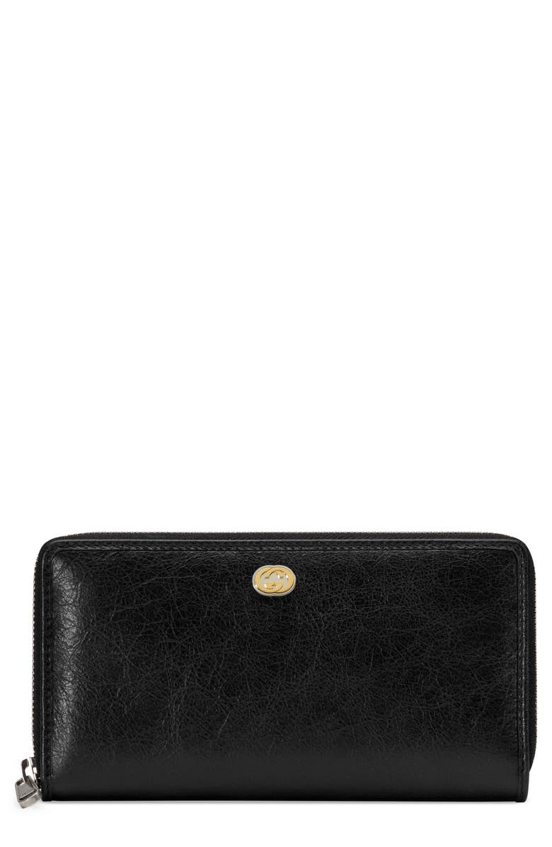 GUCCI New GG Zip Around Leather Wallet, Main, color, BLACK