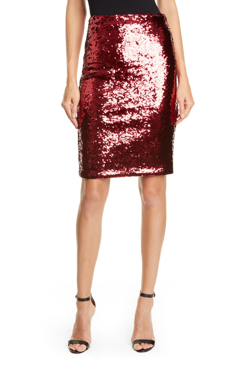 ALICE + OLIVIA Sequin Pencil Skirt, Main, color, BORDEAUX