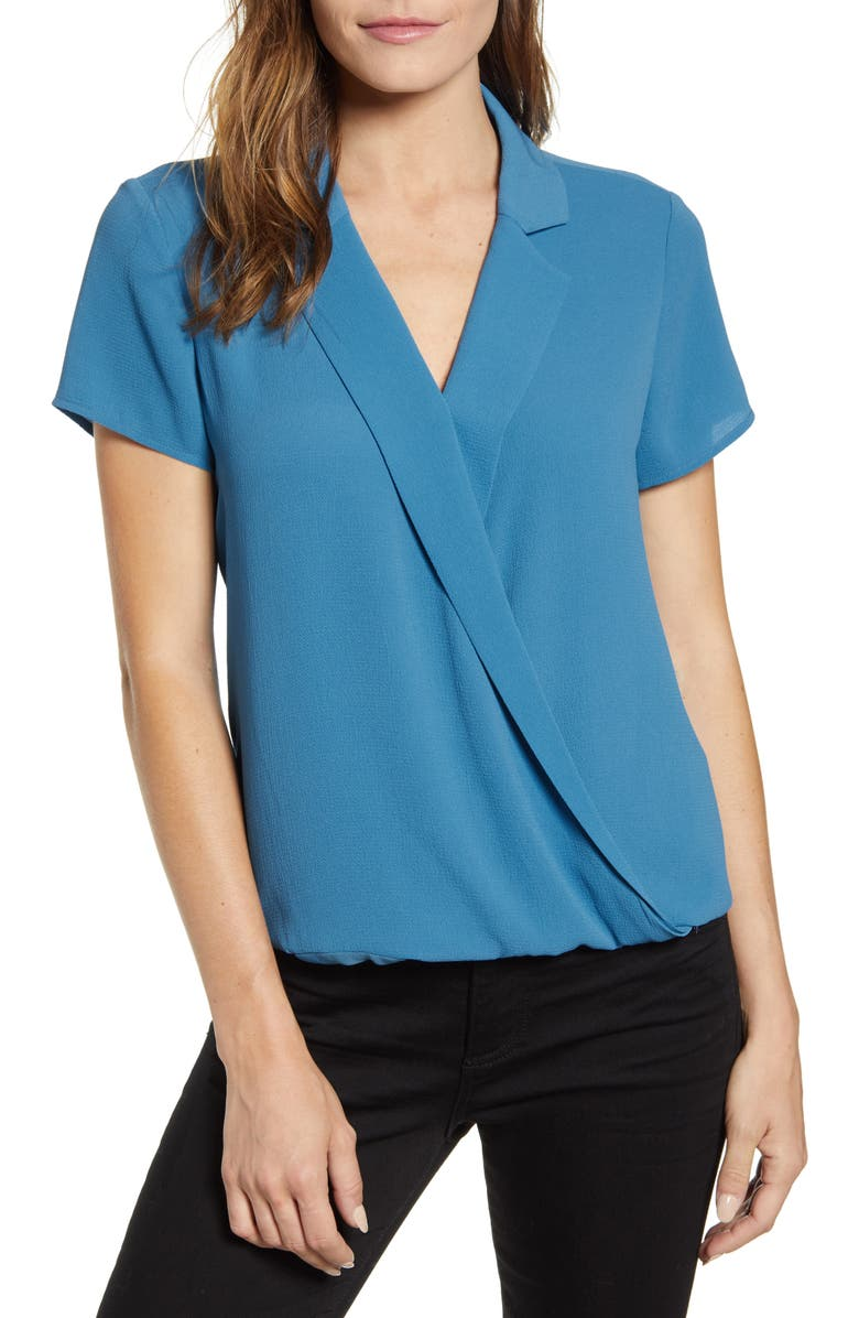 VINCE CAMUTO Notch Collar Wrap Front Blouse, Main, color, SERENE LAKE