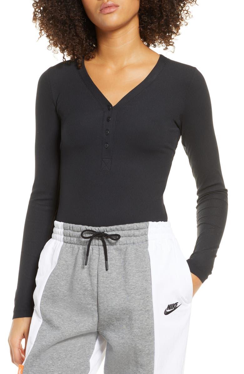 NIKE Yoga Luxe Long Sleeve Bodysuit, Main, color, BLACK/ DK SMOKE GREY