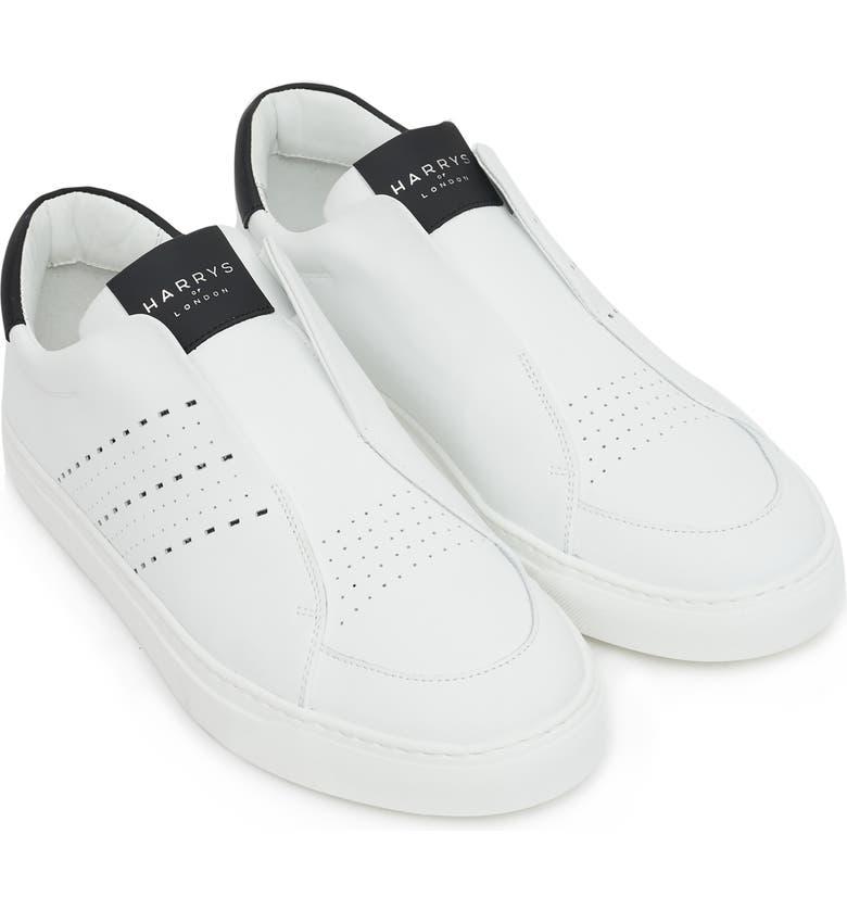 HARRYS OF LONDON Track Tech Sneaker, Main, color, WHITE/ BLACK LEATHER