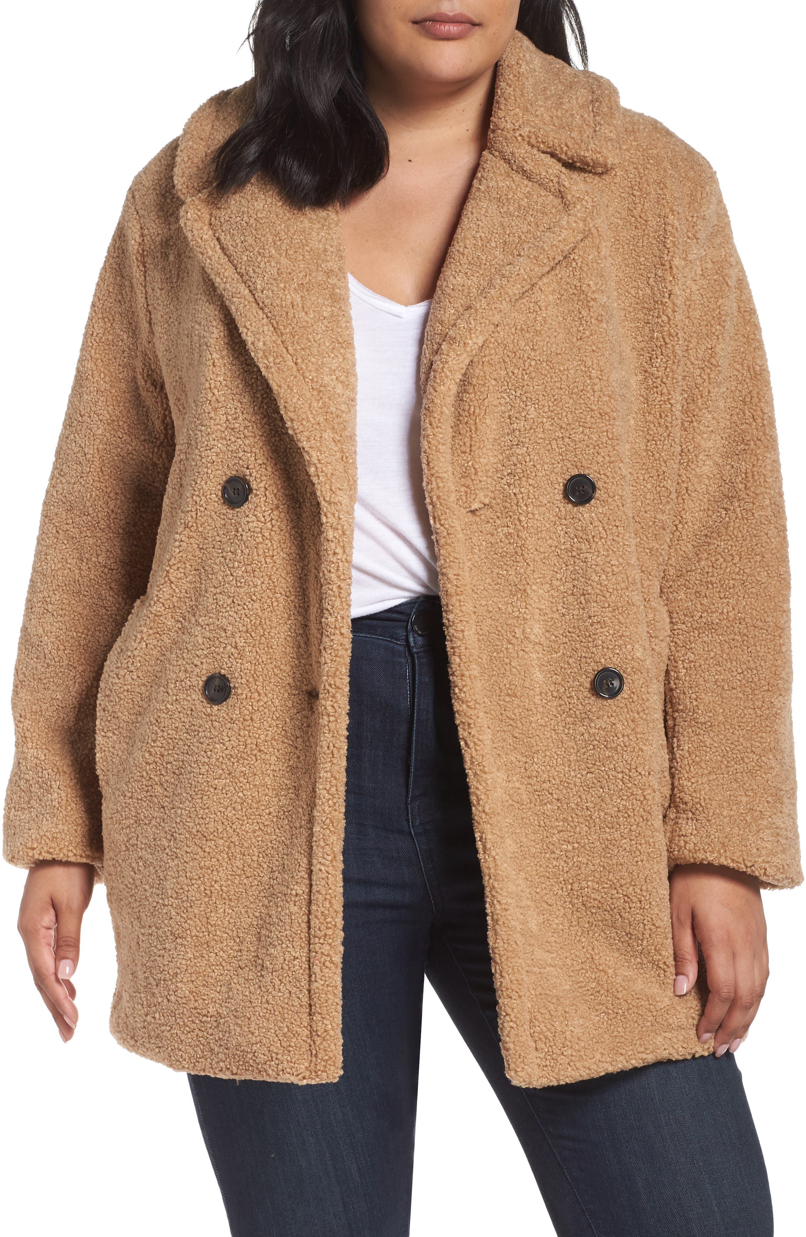 Teddy Bear Notch Collar Faux Fur Coat, Main, color, 788