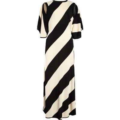 Stella Mccartney Cape Back Diagonal Stripe Midi Sweater Dress, US - Black