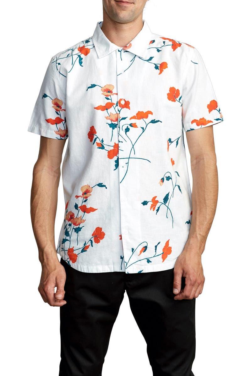 RVCA Lazarus Floral Short Sleeve Button-Up Shirt, Main, color, ANTIQUE WHITE