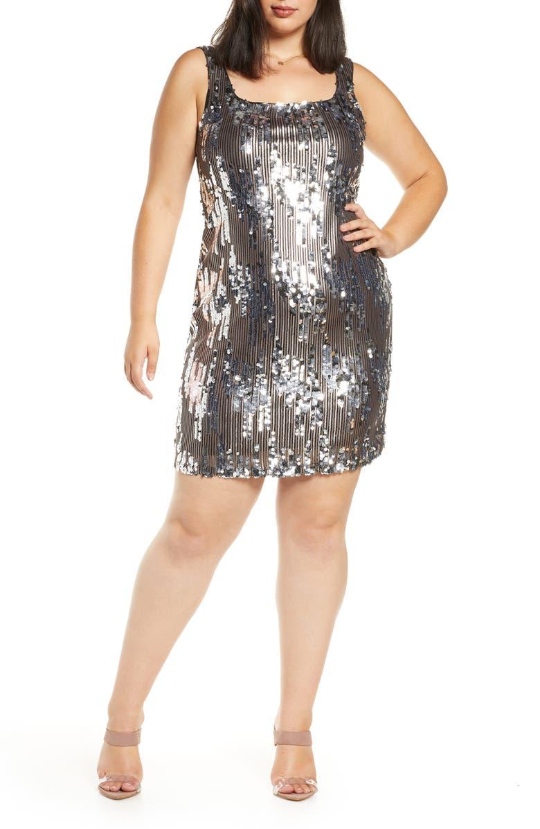 LEITH Sequin Minidress, Main, color, METALLIC SILVER