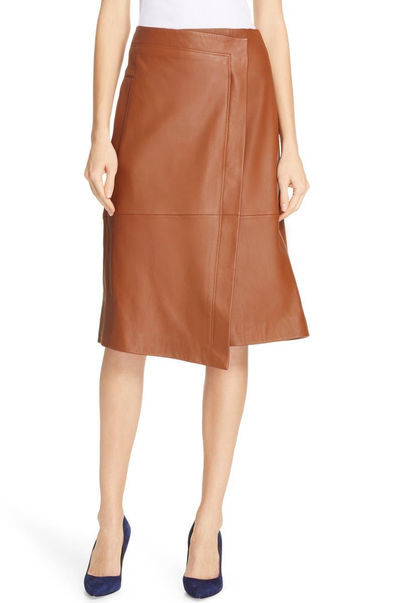 BOSS Selenno Leather Wrap Skirt, Main, color, 233