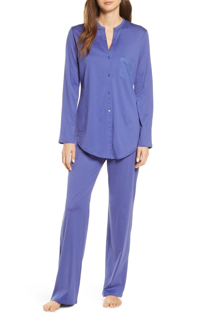 HANRO Cotton Deluxe Pajamas, Main, color, WISTERIA