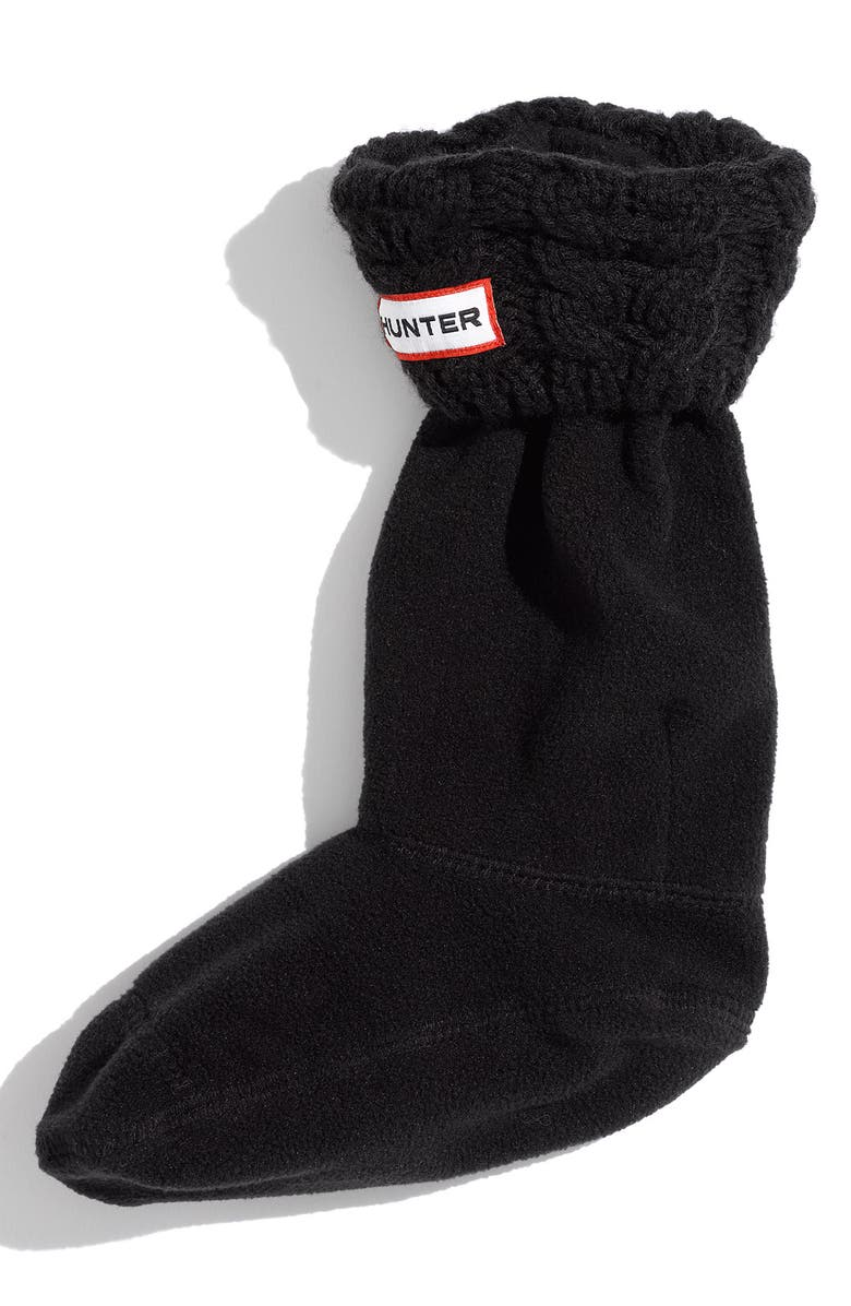 HUNTER 'Chunky' Cabled Cuff Socks, Main, color, 001
