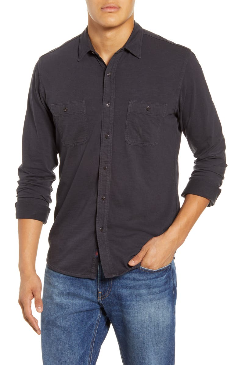 FAHERTY Seasons Regular Fit Cotton Shirt, Main, color, WASHED BLACK