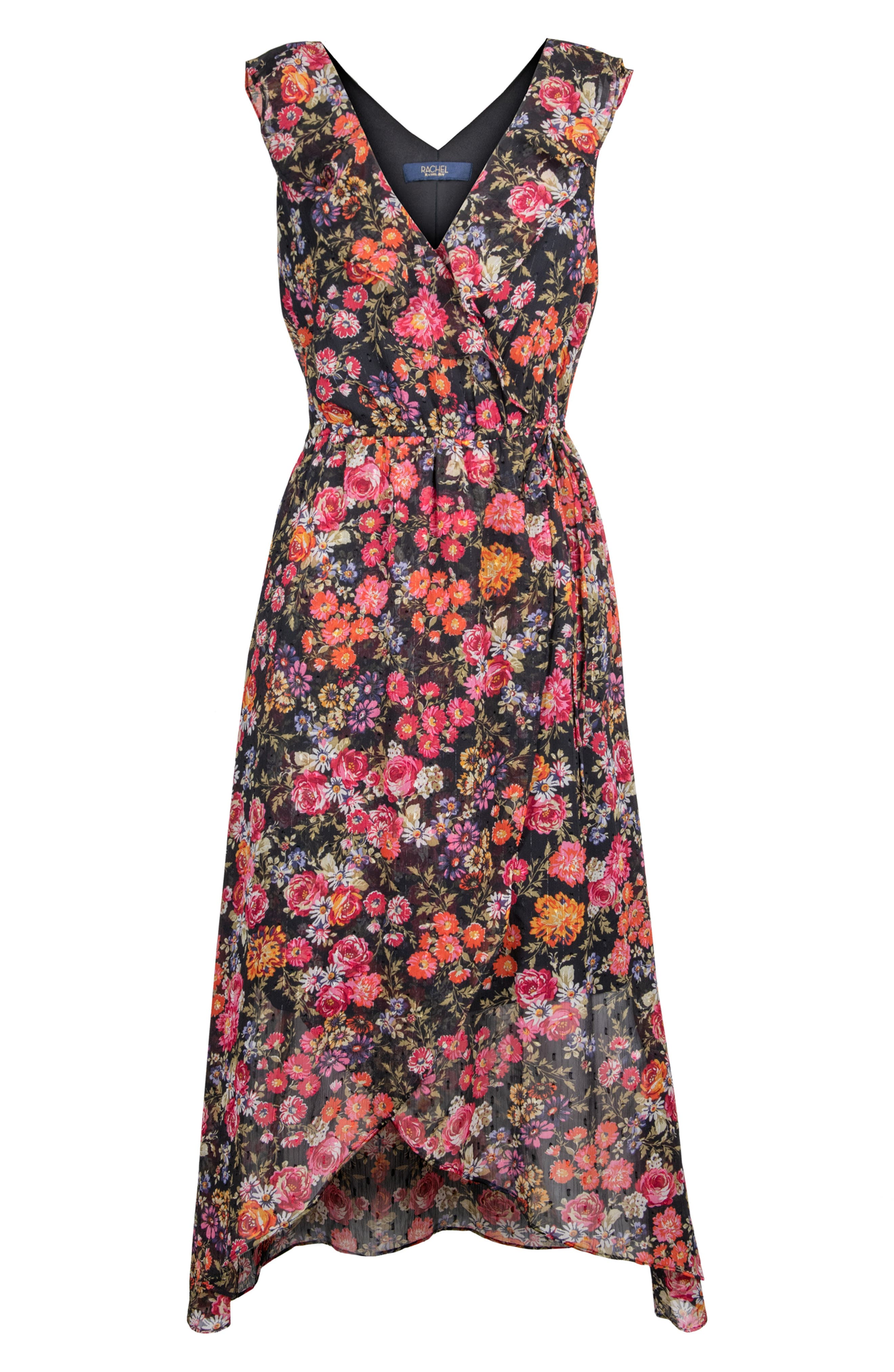 Image of RACHEL Rachel Roy Lurex Stripe Floral Jacquard Midi Dress