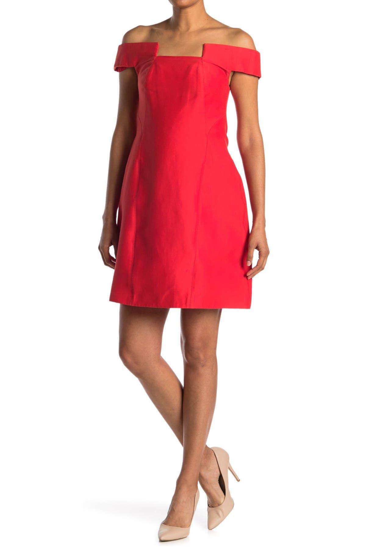 Image of HALSTON Off-the-Shoulder Geo Neck Dress
